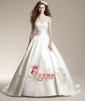 2014 the latest deep v-neck A word trailing bud silk satin wedding wedding dress cy005
