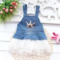 Free shipping 2014 new summer kids  clothing  summer 2014 new Korean baby girl child crown hem. Denim Dress A299