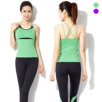 Shirt Pants Yoga clothes Jogging Suit 2015 Korean Women Running Gym Fitness Dance Aerobics Clothing Training Sports Set Ladies
