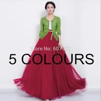 New 2014 Summer Spring Vintage High Waist Sheer Mesh Gauze Swing Pleated Floor Length Maxi Beach Long Skirt For Women 497703