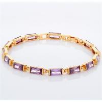 Rectangle Cut Purple Amethyst Cluster CZ Zircon 18K Yellow Gold Plated Tennis Bracelet & Bangle for Womens Jewelry 18cm 7''