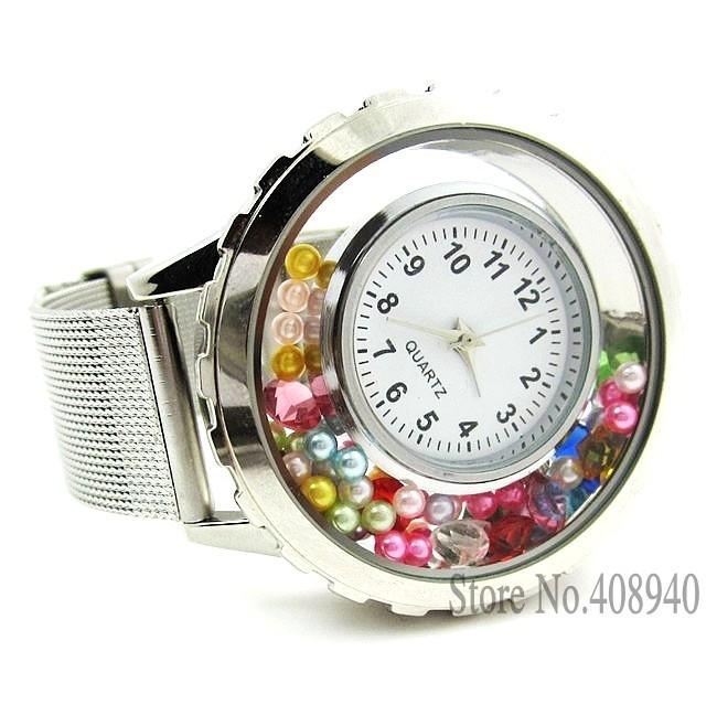 2014 nuovo vendita calda galleggiante fascino medaglione orologio in acciaio inox orologio spedizione gratuiti di alta qualità(gratuito regalo perla e compleanno)