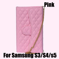 For Samsung Galaxy S5 S4 S3 case Luxury wallet case with card slot for s3 s4 s5 i9600 mobile phone bags with crystal cc logo
