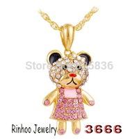 Wear Skirt Little Bear Shape 3D Pendant Necklaces Full Crystal Children's Popular Jewelry Free Shipping B31254