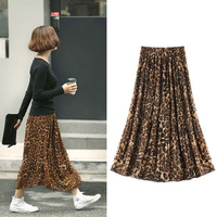 New 2014 Summer Spring Fashion Leopard Print Casual Pleated Maxi Skirt For Women Girl 497704