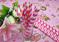 Wholesale 500pcs Wedding Birthday Party  Supplies Colorful Paper Drinking Straws With Pink Stripe 11.T211