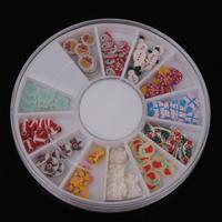 Mix 12 Designs Christmas DIY Nail Art Tip Decoration Nail Stud Round Wheel Free Shipping