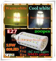 FedEX Free shipping 200 pcs 15W SMD 5630 5730 60 LED E27 E14 B22 AC110-240V Corn Bulb Light Maize Lamp LED spotlight lighting