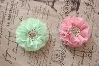 Ruffled chiffon Flower Pearl Rhinestone hair Flower Flat Back for baby girl