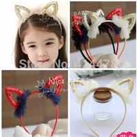 Free Shipping 2014 New 12pcs/lot Baby Cute Hollow Shiny Ear Kids Hairbands Girls Hair Accessories Headbands