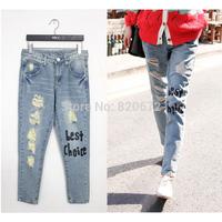 2014 hot new Korean boyfirend Casual thin low-waist jeans feet pencil hole free shipping