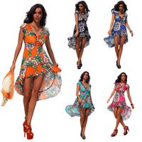 Summer new arrive Irregular beach dress for the women high waisted  v-neck clothing flower printed Bohemian dresses for women