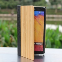 O85 Wholesale100% Natural Bamboo Real Leather Wooden handmade for Samsung Galaxy S4 i9500 note 3 Case Flip Cover Free shipping