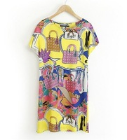 Plus size M-XXXL dress women europen style vintage fashion new summer dress 2014 short-sleeved O-neck loose casual dress