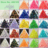 6mm Resin Rhinestone Beads 14 Faceted Cut FlatBack Round Stone Jelly Colors