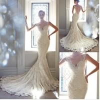 vestidos de novia New Arrival Fabulous Sexy V Neck Sleeveless Brush Train Bridal Gown Lace Appliques Mermaid Wedding Dresses 035