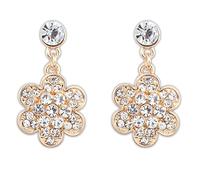 Wholesale 2014 new arrive Fashion Luxury Flower Alloy Rhinestone golden Drop earrings for Wedding Bride jewelly  Free shipping