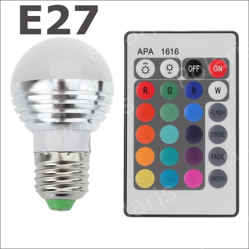 Wholesale - 1set 3W E27 Farbwechsel RGB LED Licht Lampe Birne 110-220V IR Fernbedienung with memory HUADENG(China (Mainland))