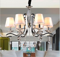 New Modern Crystal Chandelier with White Fabric ShadeGuaranteed 100%+Free shipping! 6*40w