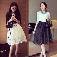 New 2014 Summer Spring Vintage High Waist Sheer Floral Lace Knee Length Skater Midi Skirt For Women Girl 497706