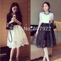 New 2014 Summer Spring Vintage High Waist Sheer Floral Lace Knee Length Skater Midi Skirt For Women Girl 497706