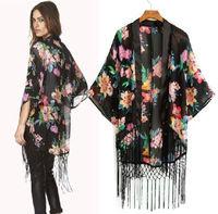 Vintage Retro Women Ethnic Floral Tassels Loose Kimono Cardigan Sunset Chiffon Cardigan Chiffon Blouse Outwear BZ655037