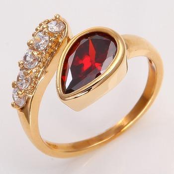 подарок ювелирных изделий 14k желтое золото заполнены женская рубиновое кольцо p213 sz7.5 обручальные кольца золото для женщин