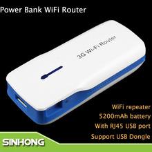 Mini 3G WiFi Wireless ADSL Router 4G Hotspot 5200mAh Power Bank With RJ45 USB ports(China (Mainland))