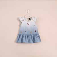 2014 Real New Vestidos Infantis Frozen Wholesale Baby Girls Dresses . Summer Denim Dress Children's Clothing 5pcs/lot E051612