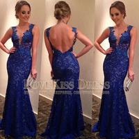 Sexy Vestidos De Fiesta Sheer V Neck Backless Royal Blue Lace Long Mermaid Prom Evening Dresses 2014 DYQ1233