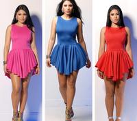 New 2014 Summer Women Bandage mini Dress Sleeveless O-Neck Bodycon Club Dresses Sexy midi dress S M L Five colors YQ022