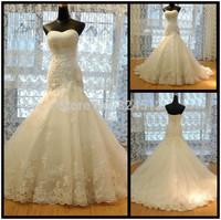 2014 Free Shipping White Ivory Mermaid Gown Bridal Wedding Dress Abito Vestidos De Noiva Custom Size 6 8 10 12 14 16 18++