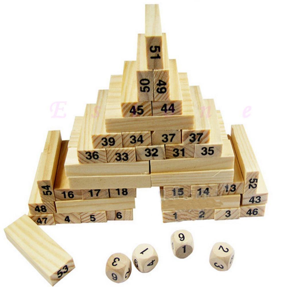 54 Blocks+4 Dices Children Wooden Tumbling Stacking Jenga Tower Block Board Game(China (Mainland))