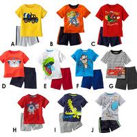 2014 new children summer suits. Cartoon suits (T-shirt+shorts). Children's suit. Children's outfit. 100% cotton boy sport suit.