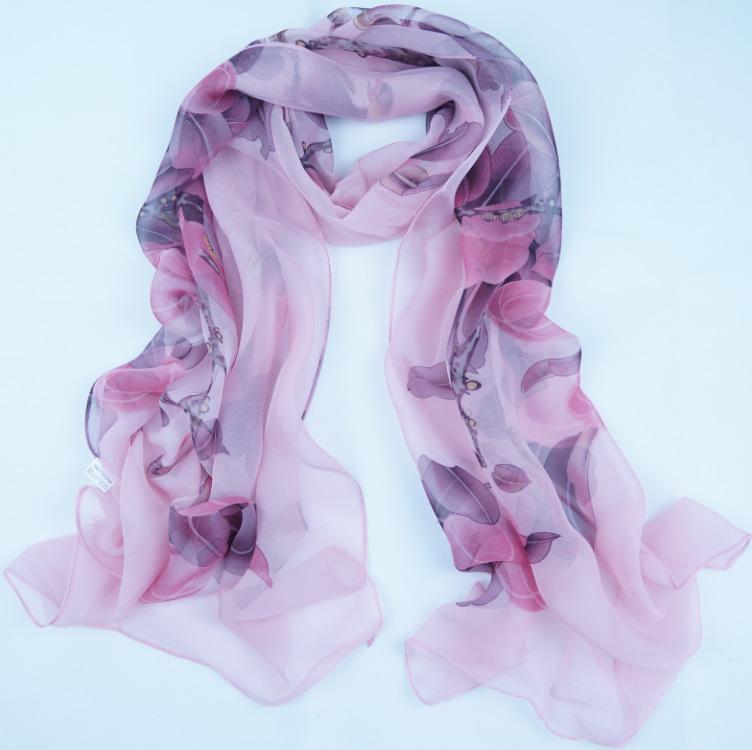 Frete grátis! Georgette 2014 novo estilo longo mulheres cachecóis xales lenços florais figura do pássaro fiado seda lama lenço(China (Mainland))