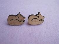 sleeping cute fox design eco friendly wooden studs