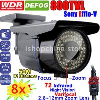 "8pcs 800TVL 1/3"" SONY EFFIO-V CCD WDR DEFOG NightVision 2.8-12mm Varifocal EZoom Surveillance Outdoor CCTV Camera w 72 IR LED"