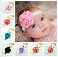 15pcs Free Shipping Baby Rose Flower Headband Wedding Headbands Baby girls headwear Flower Girl 150colors Infant Elastic Band