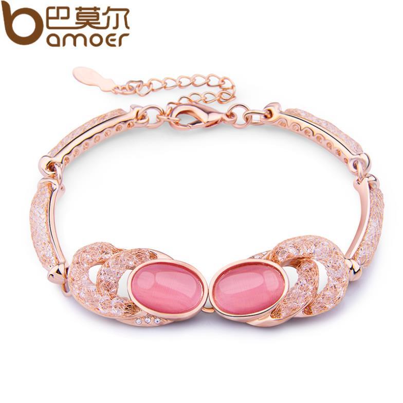 Bamoer Pink Cat's Eye Stone Opal Link Bracelet For Women Wedding AAA Zircon Crystal 18K Gold Plated Jewelry JSB029(China (Mainland))