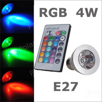 COB LED Lamp E27 4W 100-245V 220V RGB LED Light Spotlight Bulb Lamp with Remote Controller For Home Bar