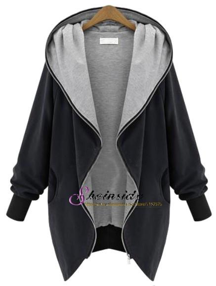 2014 Hot Sale New Spring/Autumn Casual Coat Women/Man Fashion Black Hooded Long Sleeve Pockets Loose Coat(China (Mainland))