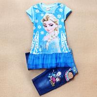 New 2014 Frozen Clothing Sets Cotton ELSA  TUTU Dress+Jeans Girls Suits Cartoon Clothing Sets Kids Suit 6Set/Lot