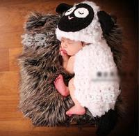 Lovely Lamb Baby Crochet Photo Props Infant Hand Crochet Hat+Cover Set Baby Crochet Costume Outfit 1set Free Shipping MZS-078