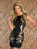 Stretchy Foil Printing Bodycon Dress Blackless  fashionable timeless trends evening dresses