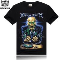 Free Shipping ROCKSIR Thrash Metal Megadeth T-shirt Free Dom skeleton Hiphop  T-shirt skull