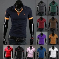 HOT!New Men's Casual Slim Fit Stylish Short-Sleeve Shirt Cotton T-shirt Tees Tops Size M L XL XXL