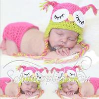 Infant Baby Photography Prop Handmade Knit Beanie Animal Owl Design Nursling Hat And Shorts Set Free Shipping 1set MZS-14002