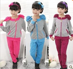 Children's clothing suits Girls long sleeve Set Kids flowers Sports Suit Children zipper coat +Pants 2pcs Garment B048(China (Mainland))