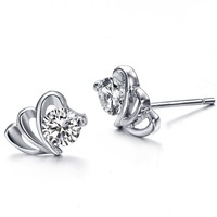 Fashion Jewelry 2014 brincos ouro de prata Silver Plated Heart Shape Stud Earrings Made With Australia Crystal For Women