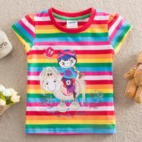 NEAT New 2014 summer children clothing t shirt cartoon kids baby girls t shirt striped for girl wear 100% cotton Tops & Tees
